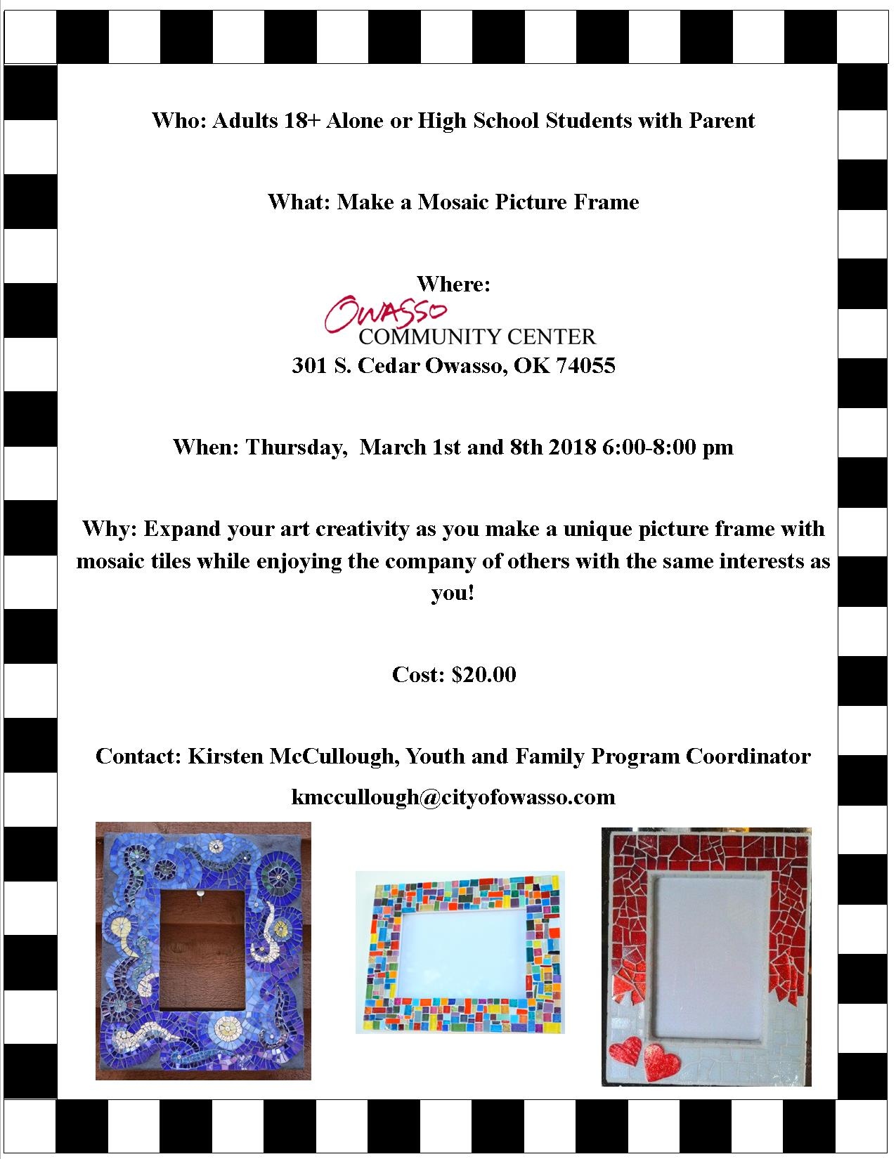 Mosaic Art Frame March 1st and 8th