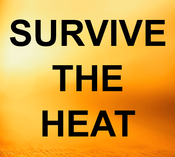 Yellow and orange background with Survive The Heat text