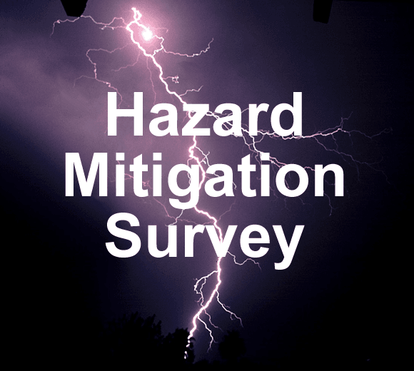 Image of lightning with the text Hazard Mitigation Survey