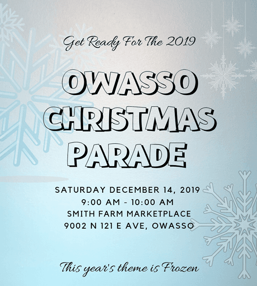 Blue snow background with text about Owasso Christmas Parade