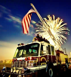 Fire Truck and Fireworks
