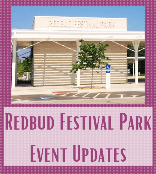 Photo of Redbud Festival Park pavillion, and the text Redbud Festival Park Event Updates