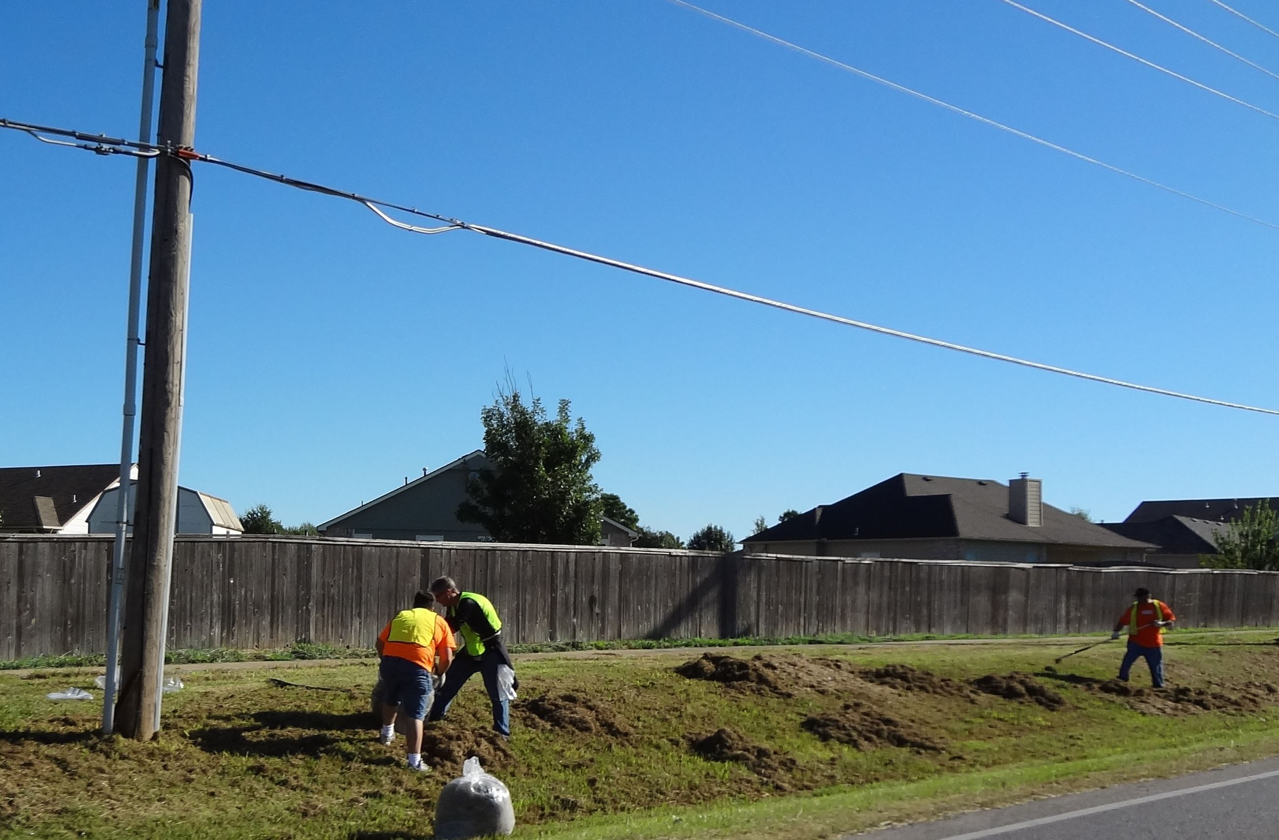 Volunteers raking grass along Mingo Street